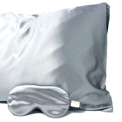 Satin Sleep Mask & Pillowcase Set - Grey