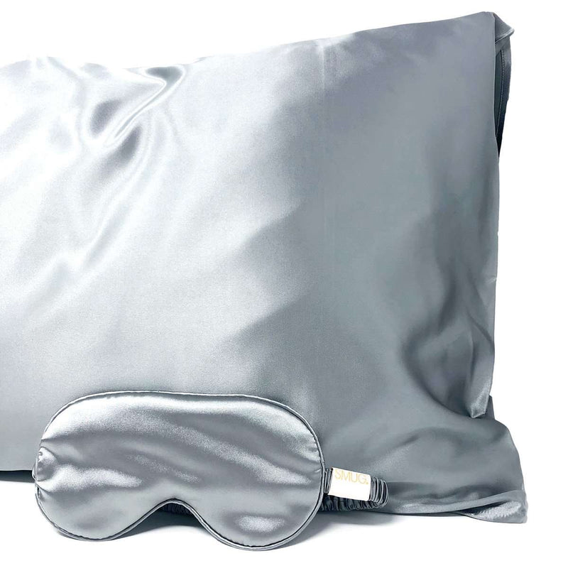 Silk Sleep Mask & Pillowcase Set - Grey