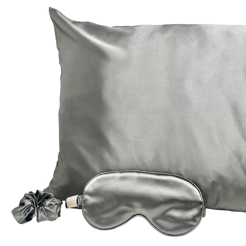 Satin Sleep Mask, Hair Scrunchie & Pillowcase Set - Grey