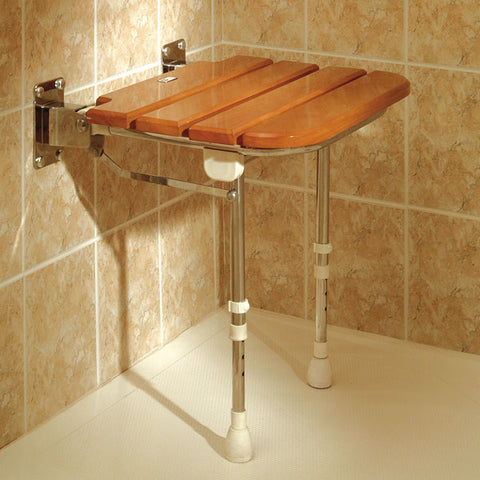 Wooden slatted shower seat