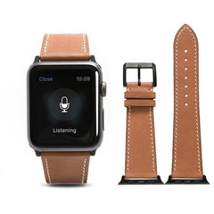 Coffee French Calf Leather Apple Watch Band - OzStraps.me