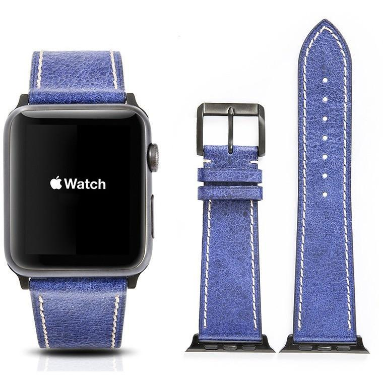 Blue French Calf Leather Apple Watch Band - OzStraps.me