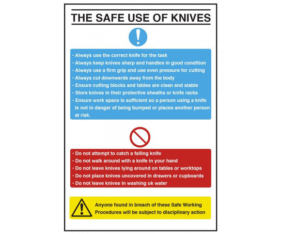 Safe Use of Knives Guidelines Sign