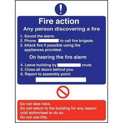 Fire Action with Route Info Self Adhesive