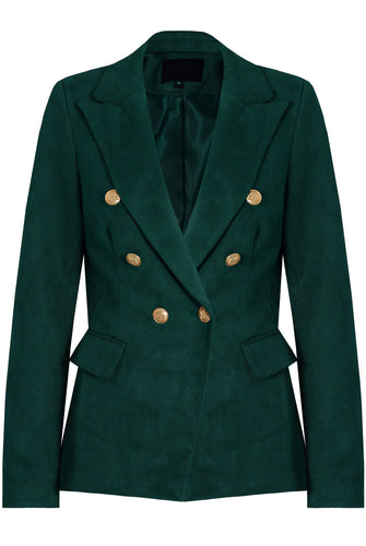 Golden Button Double Breasted Suede Blazer in  Emerald Green - Avenue27