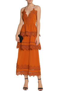 Lace-trimmed cotton-blend crepe  midi dress