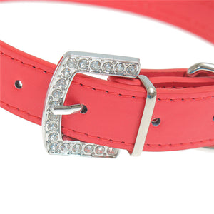 Leather Crystal Diamond Puppy Collar Pet Dog Collars Pink & Red