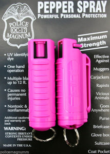 2 PACK Police Magnum pepper spray .50oz hot pink molded keychain self defense