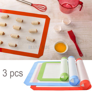 3 Pack  Silicone Baking Mat Non-Stick Heat Resistant Liner Oven Sheet Meat Pastry