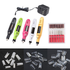 Electric Nail Manicure Drill File Polish Tools+ False Nail Art Tips Tools