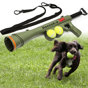 Dog Tennis Ball Toy Launcher Gun for Pet Training with 2 Squeaky Balls