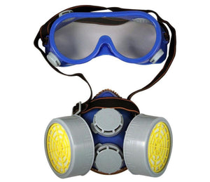 2 PIECE SAFETY RESPIRATOR AND GOGGLES Fitness Training Exercise Sports Googles