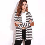 Autumn Outerwear Women Long Sleeve Striped Cardigan