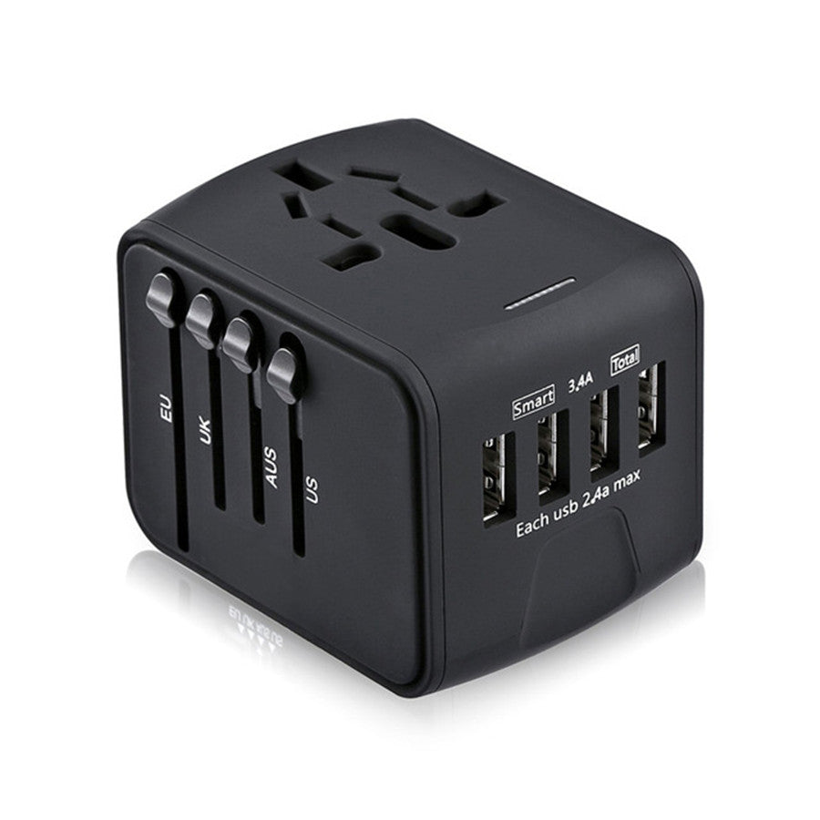 Universal Power Adapter All-in-one with 3.4A 4 USB (for UK/EU/AU/Asia)