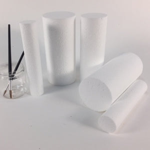 100mm plain white polystyrene cylinder