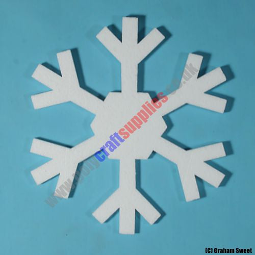 pack of 5 > 180mm high Polystyrene Snowflakes pcs72n