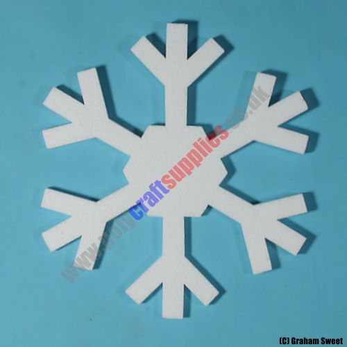 pack of 5 > 280mm high Polystyrene Snowflakes pcs72n