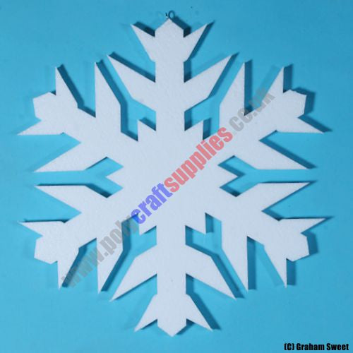 pack of 5 > 380mm high Polystyrene Snowflakes pcs87a