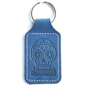 Leather Key Fob - Embossed Sugar Skull Blue Keyring - Immaculate reflection car care