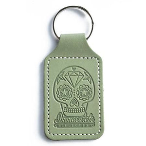 Leather Key Fob - Embossed Sugar Skull Green Keyring - Immaculate reflection car care