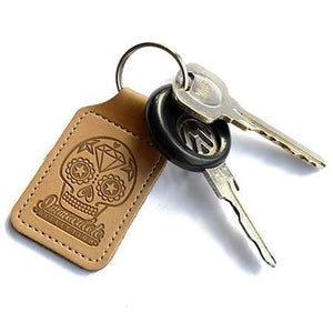 Leather Key Fob - Embossed Sugar Skull Keyring - Immaculate reflection car care - VW Golf