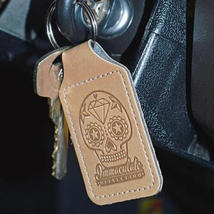 Leather Key Fob - Embossed Sugar Skull Keyring - Immaculate reflection car care
