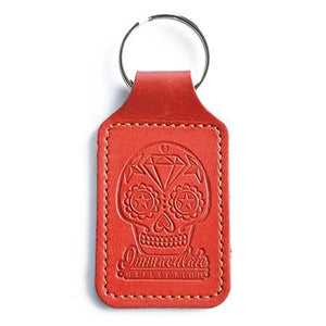 Leather Key Fob - Embossed Sugar Skull Red Keyring - Immaculate reflection car care