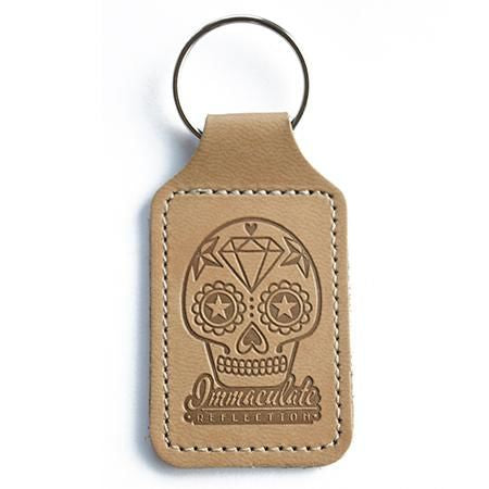 Leather Key Fob - Embossed Sugar Skull Tan Keyring - Immaculate reflection car care