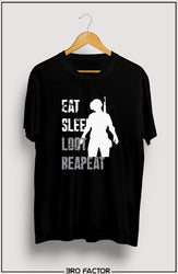 Bro Factor Eat Sleep Loot Repeat Graphic Printed T-Shirt
