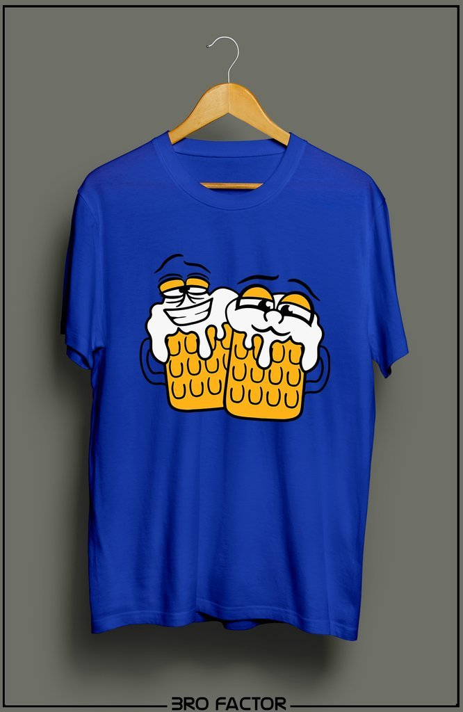 BroFactor Beer Glasses Graphic Printed T-Shirt
