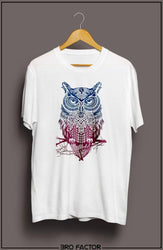 BroFactor Multicolor Owl Graphic Printed T-Shirt