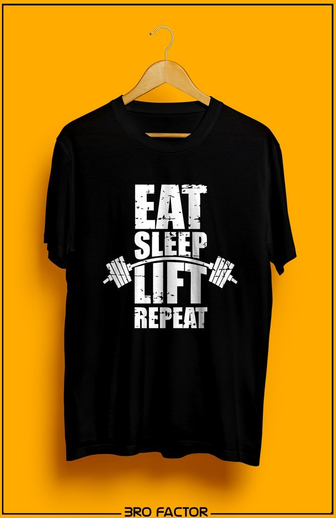 BroFactor Eat Sleep Lift Repeat Graphic Printed T-Shirt