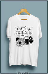 BroFactor Just Say Cheese Graphic Printed T-Shirt