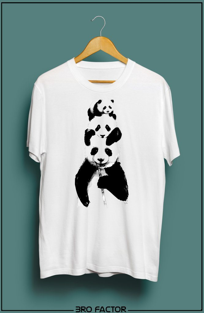 BroFactor Panda Family Graphic Printed T-Shirt