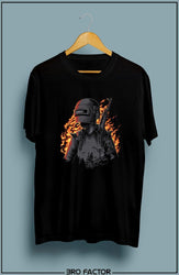 Bro Factor PUBG Fire Graphic Printed T-Shirt