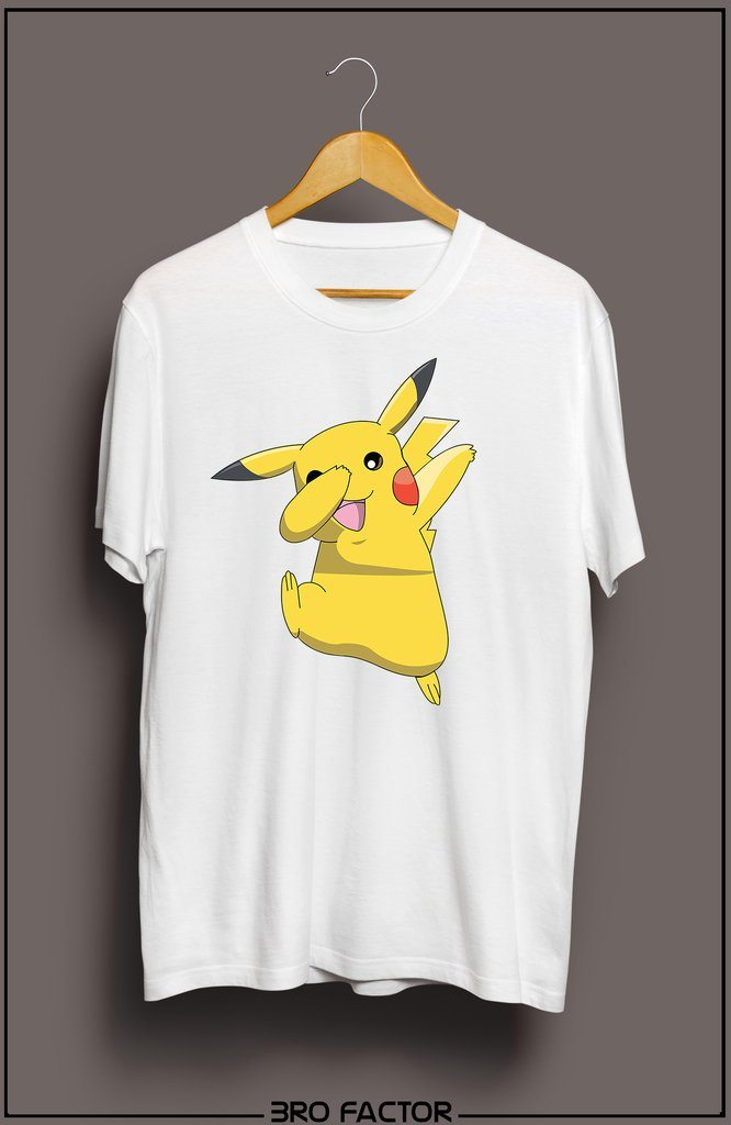 BroFactor Adorable Pika Dab Graphic Printed T-Shirt