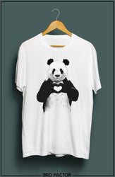BroFactor Panda Heart Graphic Printed T-Shirt
