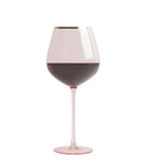 Shanghai Crystal Red Wine Glasses - 4pc Set Pink