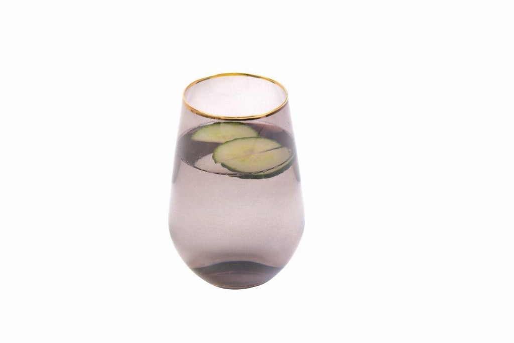 Shanghai  Crystal  4pc Tumbler  Glassware Set - Smokey Grey