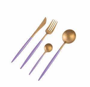 Dubai Gold & Violet 16pc Cutlery Set
