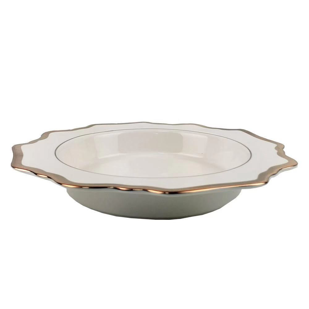 "Versailles White and Gold  8.5"" Bowl -  4pc"