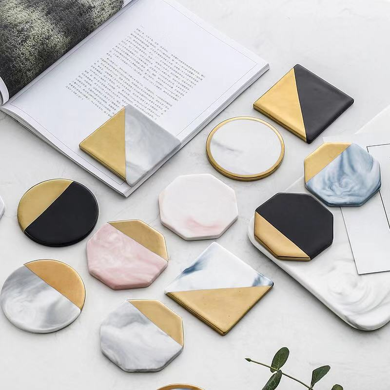 Marble  and Gold  Coasters (set of 2)