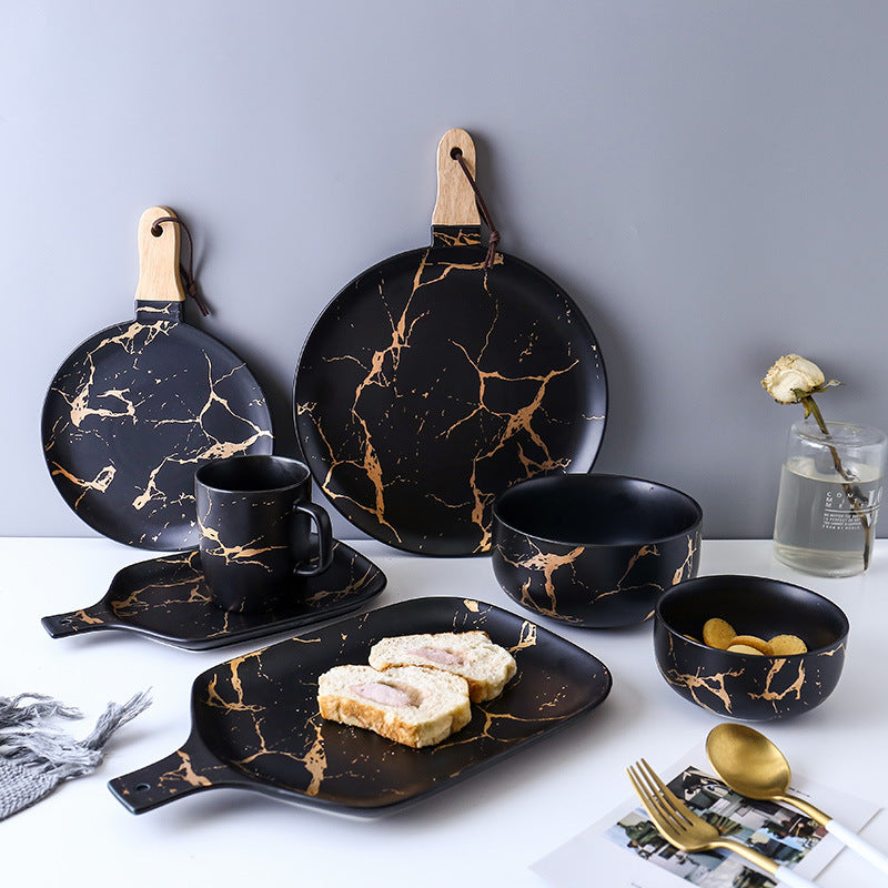 Kintsugi Small Plate with Wooden Handle