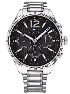 Tommy Hilfiger Men's Gavin Stainless Steel Silver Black Watch 1791469