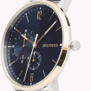 New Tommy Hilfiger Men's Brooklyn Chronograph Silver Blue Watch 1791505