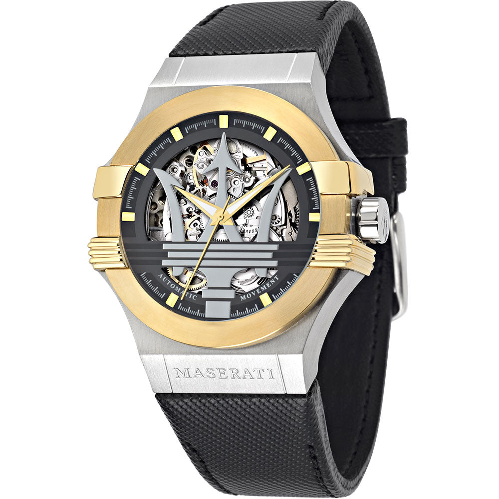 Maserati Men's Potenza Automatic Analogue Gold Black Watch - 8821108011