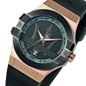 Maserati Men's Potenza Analogue Rose Gold Black Rubber Watch - 8851108002