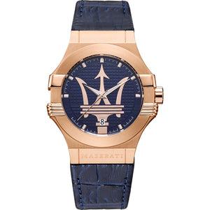 Maserati Men's Potenza Analogue Rose Gold Blue Watch - 8851108027