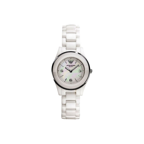 Emporio Armani Ladies Leo White Ceramic Watch AR1439
