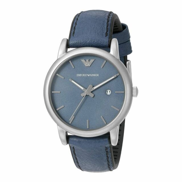 Emporio Armani Mens Sport Blue Leather Watch AR1972